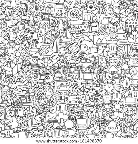Ecology seamless pattern in black and white (repeated) with mini doodle drawings (icons). Illustration is in eps8 vector mode. - stock vector