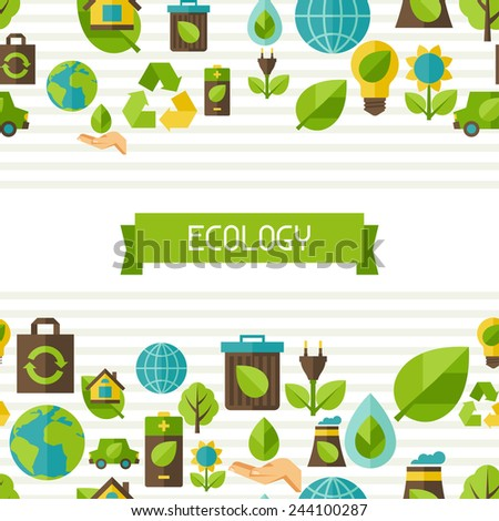 Ecology seamless pattern with environment, green energy and pollution icons.