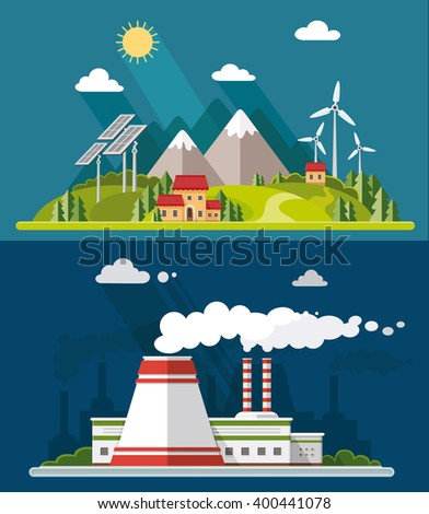 Ecology set. Environment, green energy. Eco life, emissions, nature pollution concept. Flat style vector illustration - stock vector
