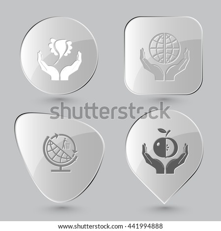 Ecology set. Glass buttons on gray background. Vector icons. - stock vector