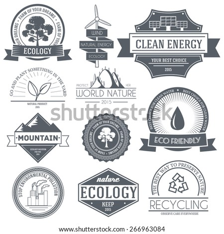 Ecology set label template of emblem element for your product or design, web and mobile applications with text. Vector illustration with thin lines isolated icons on stamp symbol.  - stock vector
