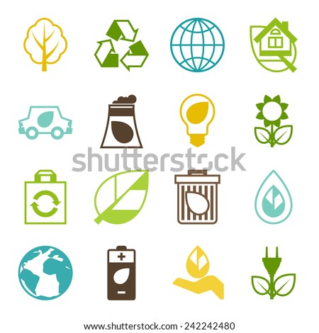 Ecology set of environment, green energy and pollution icons.