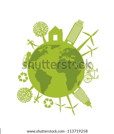 ecology sign with people and buildings isolated. vector illustration