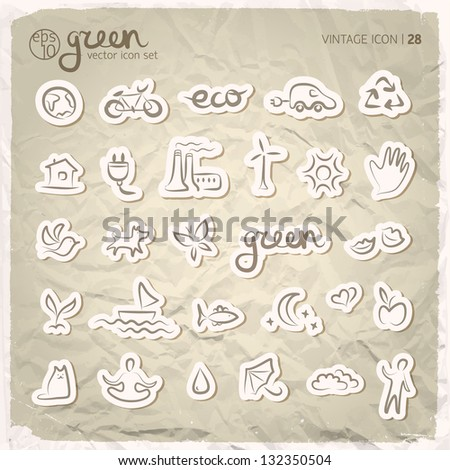 Ecology signs and icons set. Vector Illustration, eps 10, contains transparencies. - stock vector