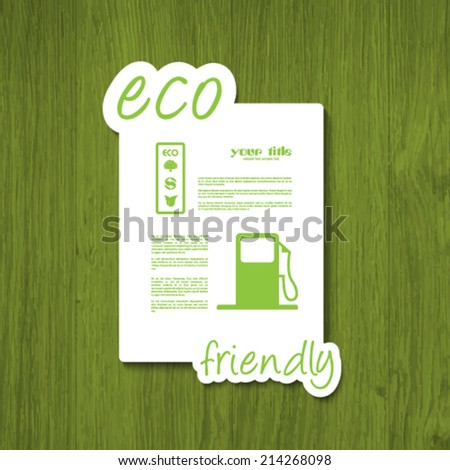 ecology signs and symbols on a green wood texture - stock vector