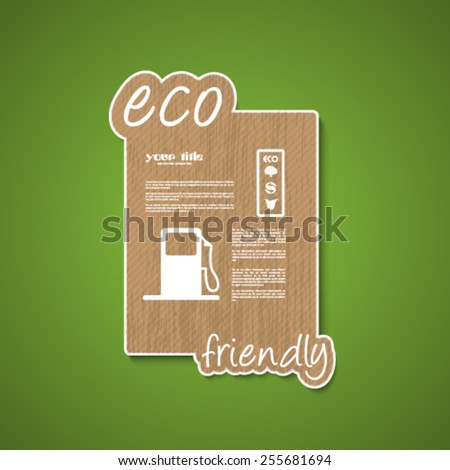 ecology signs and symbols on wood texture - stock vector
