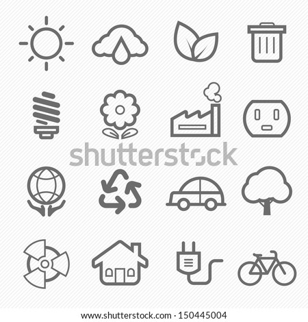 ecology symbol line icon on white background vector illustration  - stock vector
