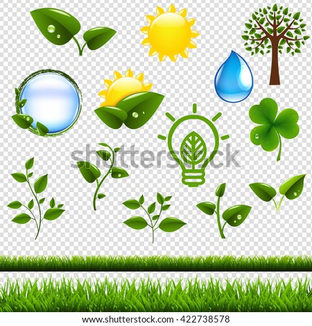 Ecology Symbols Set Isolated, Isolated on Transparent Background, With Gradient Mesh, Vector Illustration - stock vector