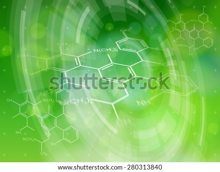 Ecology technology concept - chemical formulas, radial HUD elements & green bokeh abstract light background / vector illustration / eps10 - stock vector