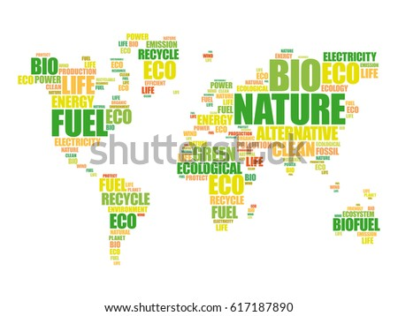 Word cloud shape world map eco vectores en stock 284002946 ecology theme world map in typography word cloud conceptual background gumiabroncs Choice Image