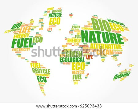 Ecology theme world map typography word vectores en stock 625093433 ecology theme world map in typography word cloud conceptual background gumiabroncs Choice Image