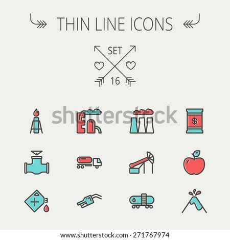 Ecology thin line icon set for web and mobile. Set includes- gas tank, truck, nozzle, container, pipe, valve, volcano, factory icons. Modern minimalistic flat design. Vector icon with dark grey - stock vector