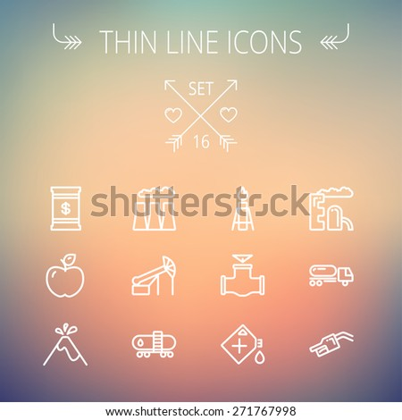 Ecology thin line icon set for web and mobile. Set includes- gas tank, truck, nozzle, container, pipe, valve, volcano, factory icons. Modern minimalistic flat design. Vector white icon on gradient - stock vector