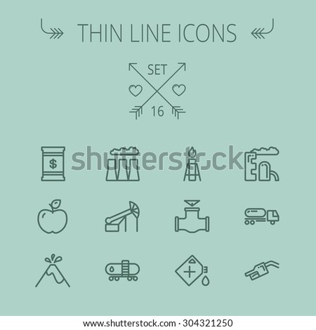 Ecology thin line icon set for web and mobile. Set includes- gas tank, truck, nozzle, container, pipe, valve, volcano, candle, factory, apple icons. Modern minimalistic flat design. Vector dark grey - stock vector