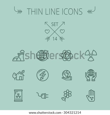 Ecology thin line icon set for web and mobile. Set includes - Global, flower, nuclear, atom, plug, plant icons. Modern minimalistic flat design. Vector dark grey icon on grey background. - stock vector