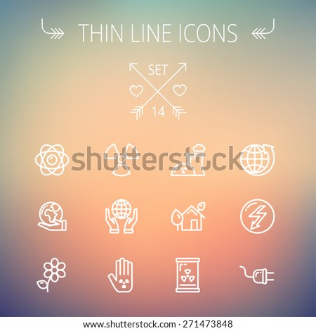 Ecology thin line icon set for web and mobile. Set includes -Palm, global, flower, propeller, atom, plug, arrow icons. Modern minimalistic flat design. Vector white icon on gradient mesh background. - stock vector