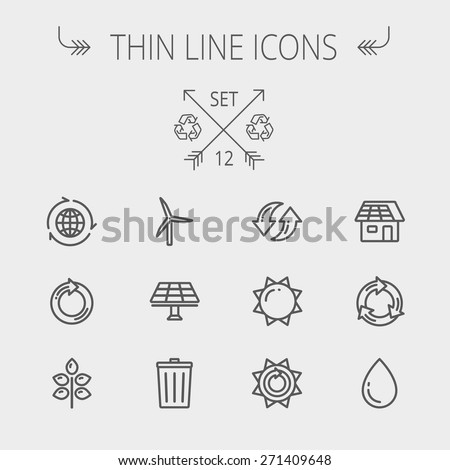 Ecology thin line icon set for web and mobile. Set includes- recycle, sun, water drop, garbage bin, windmill, leaves, global icons. Modern minimalistic flat design. Vector dark grey icon on light grey - stock vector