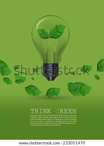 Ecology Think green bulb vector illustration.  - stock vector