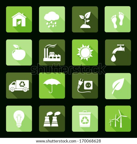Ecology vector flat icons set - stock vector