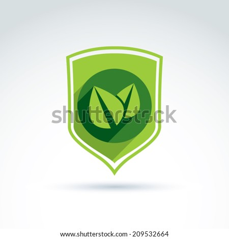 Ecology vector icon for nature and environment conservation theme. Two leaves placed in a green shield, ecology conceptual symbol isolated on white background.  - stock vector