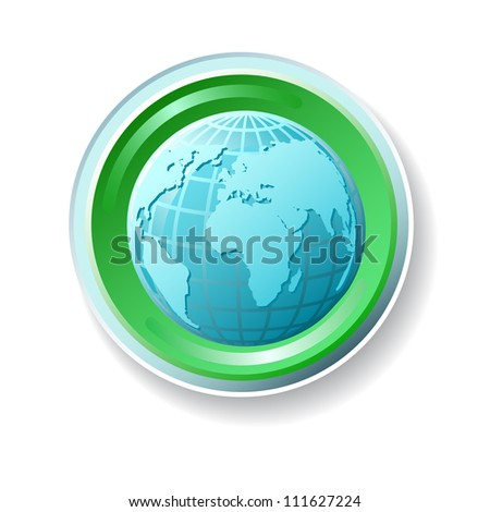 Ecology vector icon with globe