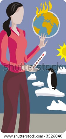Ecology vector illustration series. Global warming. - stock vector