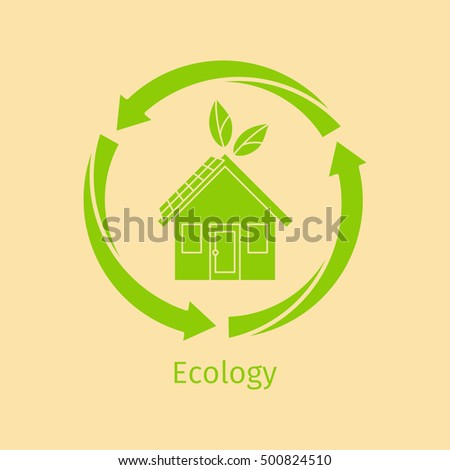 Ecology vector logo design concept with green house and arrows in circle shape
