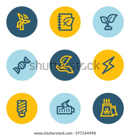 Ecology web icon set 5, blue and yellow circle buttons - stock vector