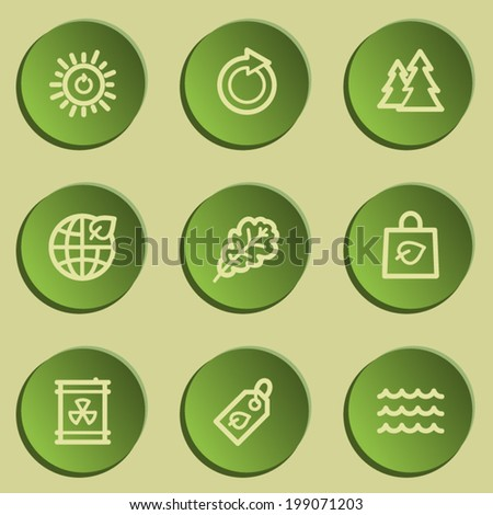 Ecology web icon set 3, green paper stickers set