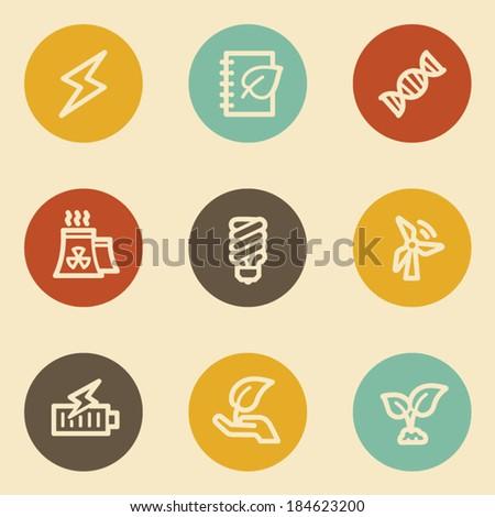 Ecology web icon set 5, retro circle buttons - stock vector