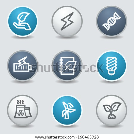 Ecology web icons, circle blue buttons - stock vector