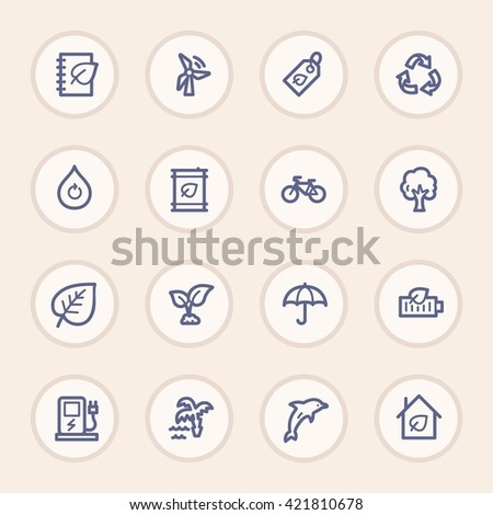 Ecology web icons.  Green technology, environment protection and recycling symbol, vector signs - stock vector