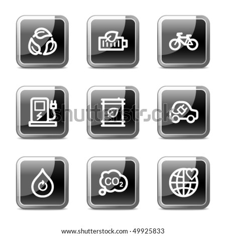 Ecology web icons set 4, black square glossy buttons series