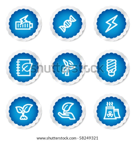 Ecology web icons set 5, blue stickers series - stock vector