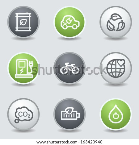 Ecology web icons set 4, circle buttons