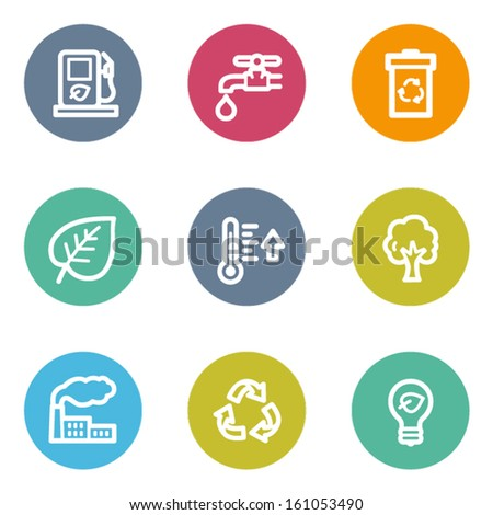 Ecology web icons set 1, color circle buttons - stock vector