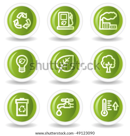 Ecology web icons set 1, green circle buttons - stock vector
