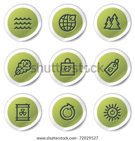 Ecology web icons set 3, green circle stickers