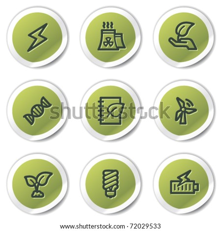 Ecology web icons set 5, green circle stickers - stock vector