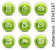 Ecology web icons set 4, green glossy circle buttons series - stock vector