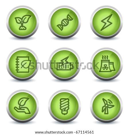 Ecology web icons set 5, green glossy set - stock vector