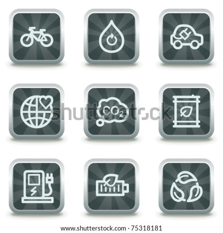 Ecology  web icons set 4, grey square buttons