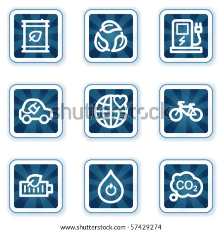 Ecology web icons set 4, navy square buttons