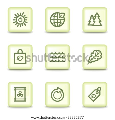 Ecology web icons set 3, salad green buttons