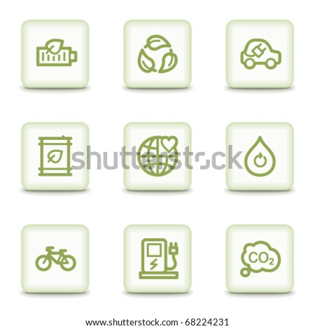 Ecology web icons set 4, white glossy buttons