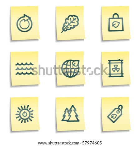 Ecology web icons set 3, yellow notes series