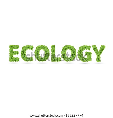 Ecology word made of green vector leafs
