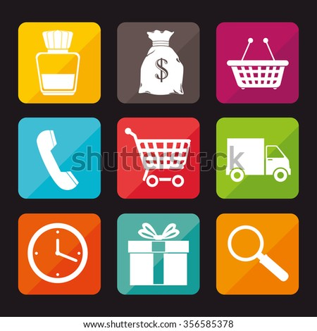 eCommerce and shopping graphic design with icons, vector illustration