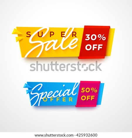 Ecommerce bright vector banner. Nice plastic cards in material design style. Transparent blue and yellow papers with red and pink ribbons.
