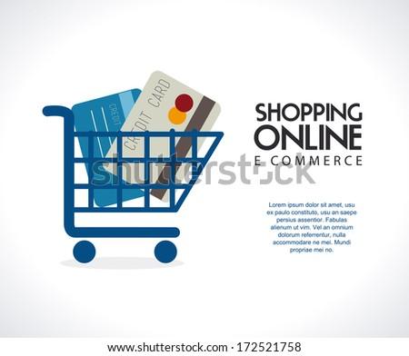 ecommerce design over gray  background. vector illustration - stock vector